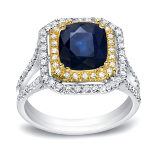Auriya 14k White Gold 1 1/3ct Blue Sapphire and 2/5ct TDW Round Cut Diamond Ring (I1-I2)
