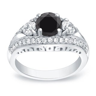 Auriya 14k Gold 2 1/2ct TDW Round-Cut Black Diamond Ring (Black, H-I, SI1-SI2)