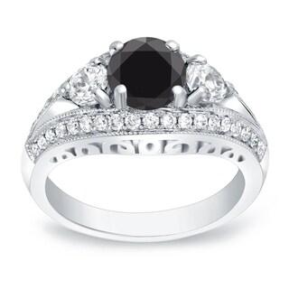 Auriya 14k Gold 2 1/2ct TDW Round-Cut Black Diamond Ring (Black)