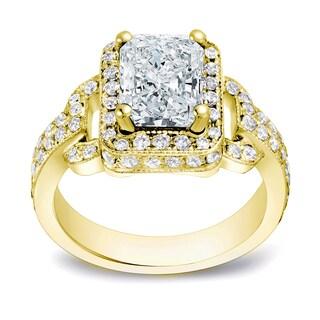 Auriya 14k Gold 2 1/4ct TDW Certified Radiant Cut Diamond Ring (H-I, SI1-SI2)