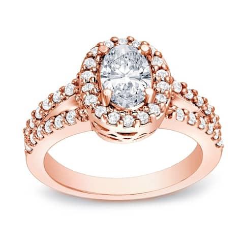 Auriya 14k Gold 1 3/5ctw Halo Oval Diamond Engagement Ring Certified