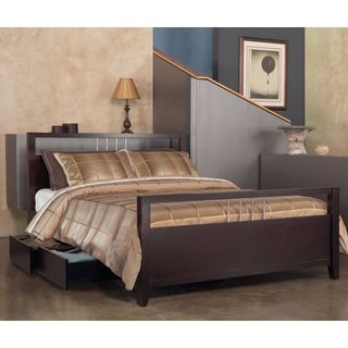 Chrome Accented Platform Storage Bed in Espresso