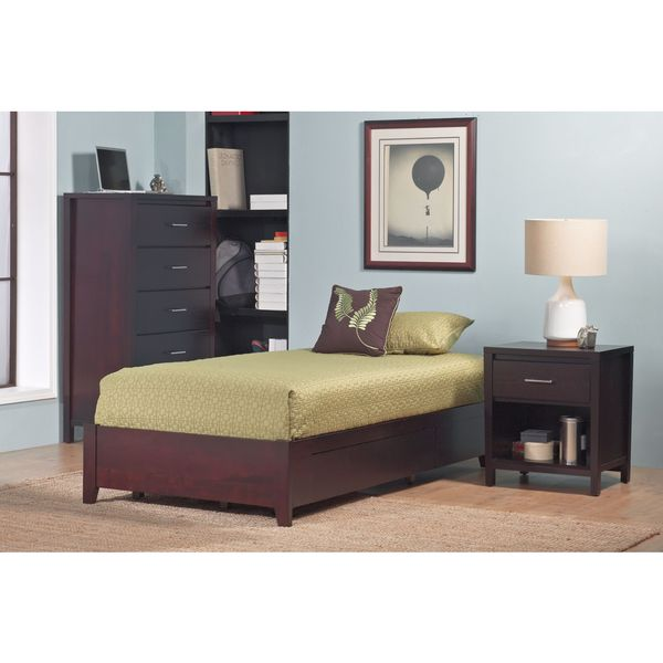 Tapered Leg Platform Storage Bed in Espresso