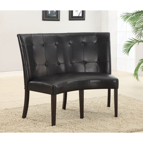 Button Tufted Dining Height Banquette in Black Leatherette