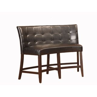 Button Tufted Counter Height Banquette in Black Leatherette