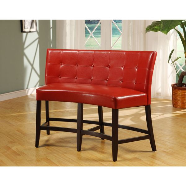 Banquette Seat Height: Shop Button Tufted Counter Height Banquette In Red