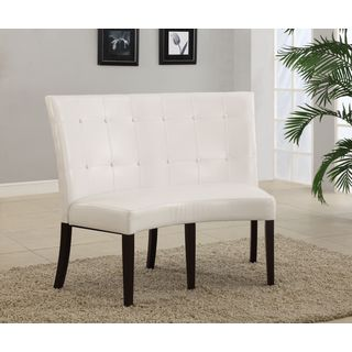Button Tufted Dining Height Banquette in White Leatherette