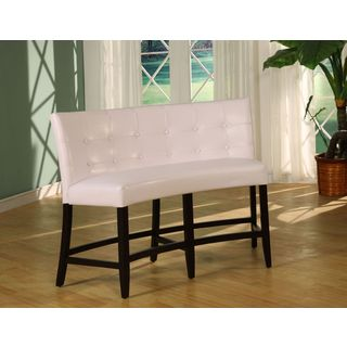 Button Tufted Counter Height Banquette in White Leatherette