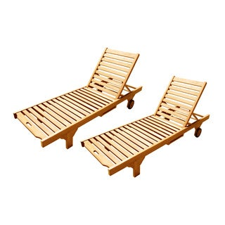 Handmade Set of 2 D-Art Wheel Lounger Chaise (Indonesia)