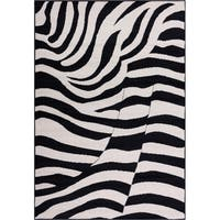 Well-woven Malibu Contemporary Modern Black and Tan Zebra Print Area Rug - 5' x 7'
