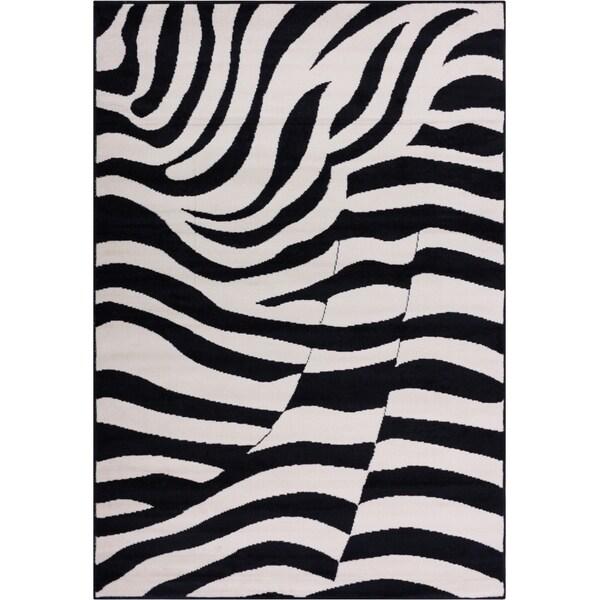 Acura Rugs Animal Hide White Black Zebra Area Rug: Shop Well Woven Malibu Contemporary Modern Black Tan Zebra