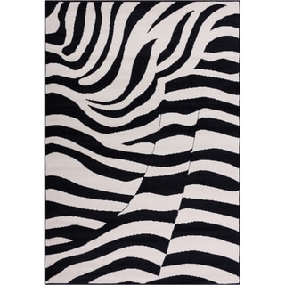 Well Woven Malibu Contempo Zebra Black Tan Modernt Rug (8'2'' x 9'10)