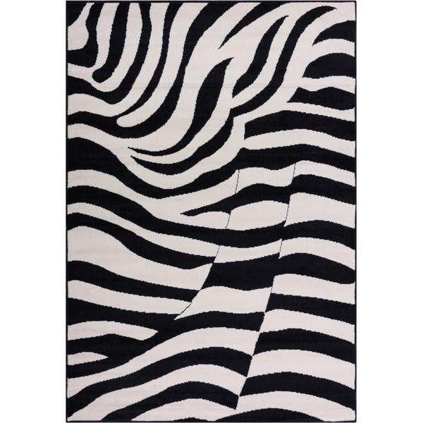 Well Woven Malibu Contempo Zebra Black Cream Tan Modernt Area Rug - 8'2' x 9'10
