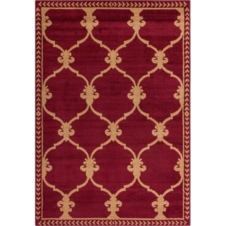 Well Woven Malibu Fleur De Lis Lattice Red Tan Rug (5' x 7')