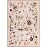 Well Woven Malibu Floral Gold Beige Area Rug - 8'2' x 9'10