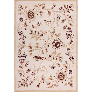 Well Woven Malibu Floral Gold Beige Rug (5' x 7')