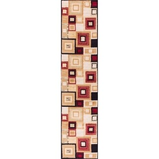 Well Woven Malibu Squares and Boxes Red Black Modern Runner Rug (1'8 x 7'2)