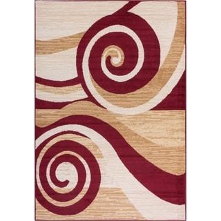 Well Woven Malibu Swirles Waves Red Modern Rug (5' x 7')