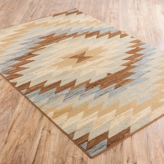Well Woven Malibu Southwestern Kilim Multi Geometric Blue, Green, Ivory, Beige, and Brown Area Rug (8'2' x 9'10)