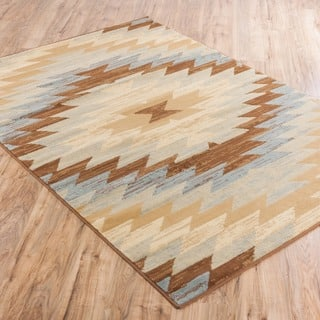 Well Woven Malibu Southwestern Kilim Multi Geometric Blue, Green, Ivory, Beige, and Brown Area Rug (8'2' x 9'10)|https://ak1.ostkcdn.com/images/products/10605076/P17677166.jpg?impolicy=medium