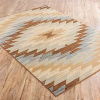 Well Woven Malibu Southwestern Kilim Multi Geometric Blue, Green, Ivory, Beige, and Brown Area Rug - 8'2' x 9'10