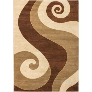 Well Woven Sublime Lines Whoosh Swirl Brown Modern Rug (7'10 x 10'6 )