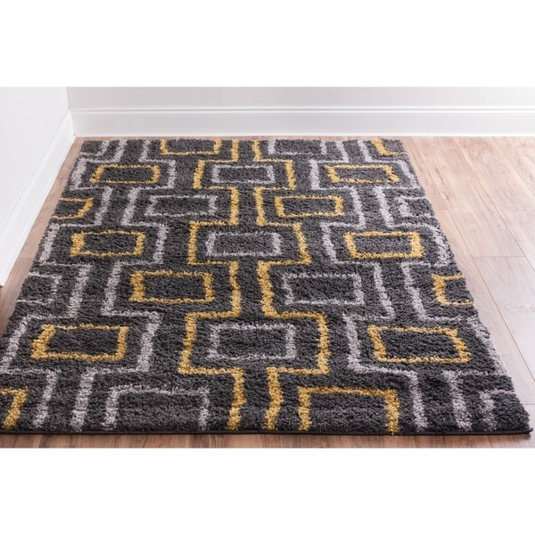 "Well-woven Soft and Plush Shag Boxes Lines Grey and Gold Modern Rug - 3'3"" x 5'3"""