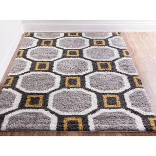 Well Woven Soft and Plush Geometric Hexagon Honeycomb Marquis Grey and Gold Shag Area Rug (5' x 7'2)