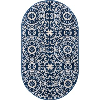 Well Woven Bright Trendy Twist Mediterranean Tile Scrolls Navy Blue Modern Rug (2'7 x 4'2 Oval)
