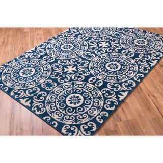 Well Woven Bright Trendy Twist Mediterranean Tile Scrolls Navy Blue Modern Rug (3'3 X 4'7)