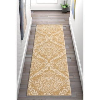 Well Woven Bright Trendy Twist Damask Linen Gold Modern Rug (2'3 X 7'3 Runner)