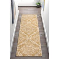"Well Woven Bright Trendy Twist Damask Linen Gold Modern Runner Rug - 2'3"" x 7'3"""