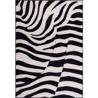 Well Woven Malibu Contempo Zebra Black Tan Modernt Rug (3'3 x 5'3)