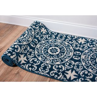 Well Woven Bright Trendy Twist Mediterranean Tile Scrolls Navy Blue Modern Rug (2'3 X 7'3 Runner)