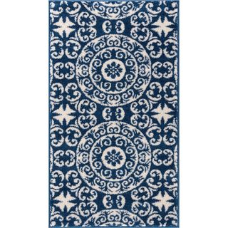 Well Woven Bright Trendy Twist Mediterranean Tile Scrolls Navy Blue Rug (2'3 X 3'11)