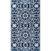 Well Woven Bright Trendy Twist Mediterranean Tile Scrolls Navy Blue Rug - 2'3 X 3'11