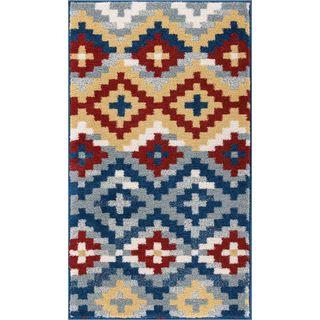 Well Woven Bright Trendy Twist Diamonds Azteca Zigzag Blue Air Twisted Polypropylene Rug (2'3 X 3'11)