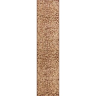 Well Woven Malibu Leopard Brown Tan Modern Rug (1'8 X 7'2 Runner)