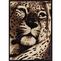 Well Woven Animal Print Leopard Beige Black Area Rug - 5' x 7'