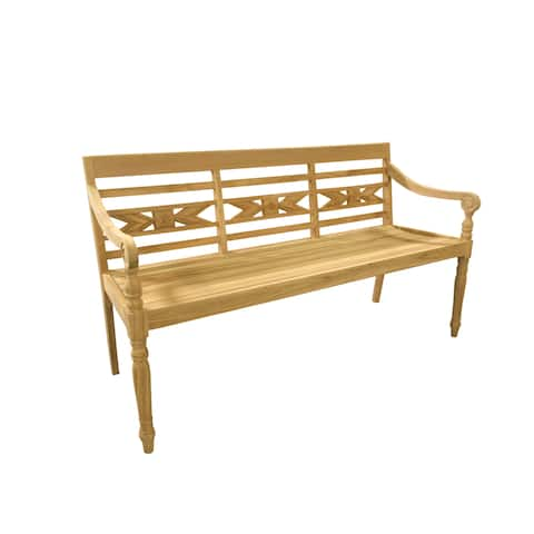 Handmade D-Art Alwari Teak Carved Bench (Indonesia)