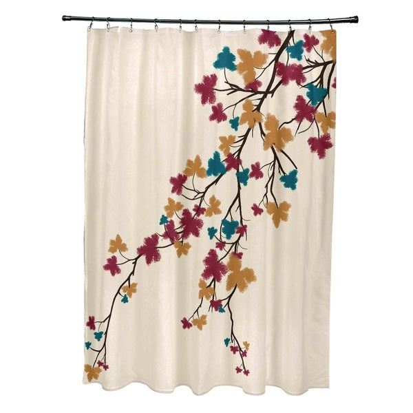 Maple Hues Flower Print Shower Curtain (71 x 74)