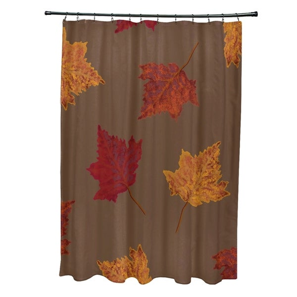 Dancing Leaves Flower Print Shower Curtain (71 x 74)