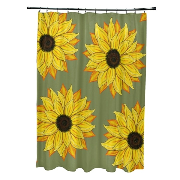 Sunflower Power Flower Print Shower Curtain (71 x 74)