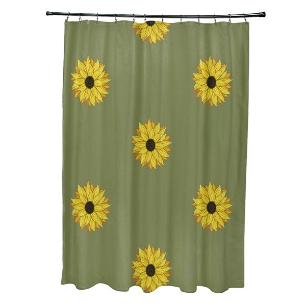 sunflower frenzy flower print shower curtain 71 x 74. Black Bedroom Furniture Sets. Home Design Ideas