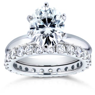 Annello by Kobelli 14k White Gold 3 1/10ct TGW Oval Moissanite (HI) Solitaire and Diamond Prong-set Eternity Band Bridal Set (More options available)