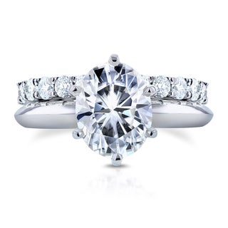 Annello by Kobelli 14k White Gold 3 1/10ct TGW Oval Moissanite (HI) Solitaire and Diamond Prong-set Eternity Band Bridal Set