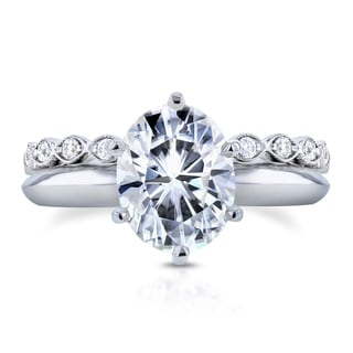Annello by Kobelli 14k White Gold 2 1/10ct Oval Moissanite and 1/3ct TDW Diamond Band Bridal Set