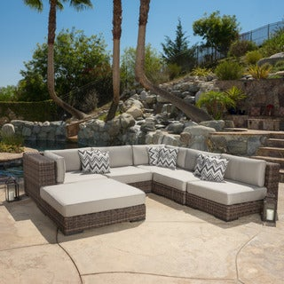 Glenoaks 6-piece Outdoor Wicker Sectional with Sunbrella Cushions by Christopher Knight Home
