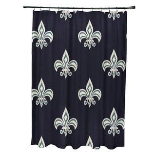 Fleur De Lis Ikat Print Shower Curtain  71 x 74. EZ On Fleur De Lis Fabric Shower Curtain  Liner with Built in