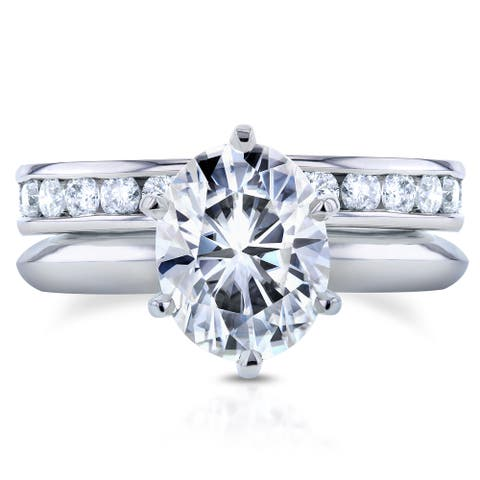 Annello by Kobelli 14k White Gold 3 1/10ct Oval Moissanite Solitaire and Diamond Channel-set Eternity Band Bridal Set